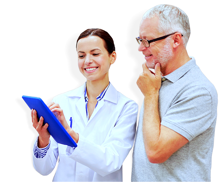 young lady pharmacist talking happily with an old man