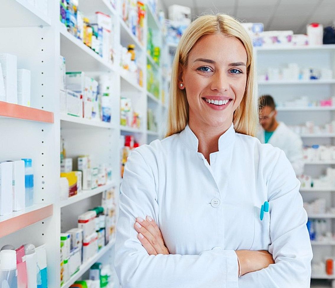 lady pharmacist smiling
